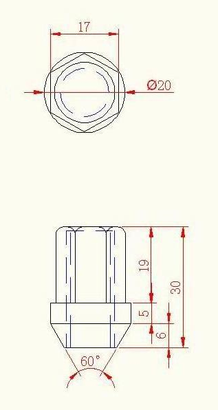 Velgmoer M12x1,25x30x19mm